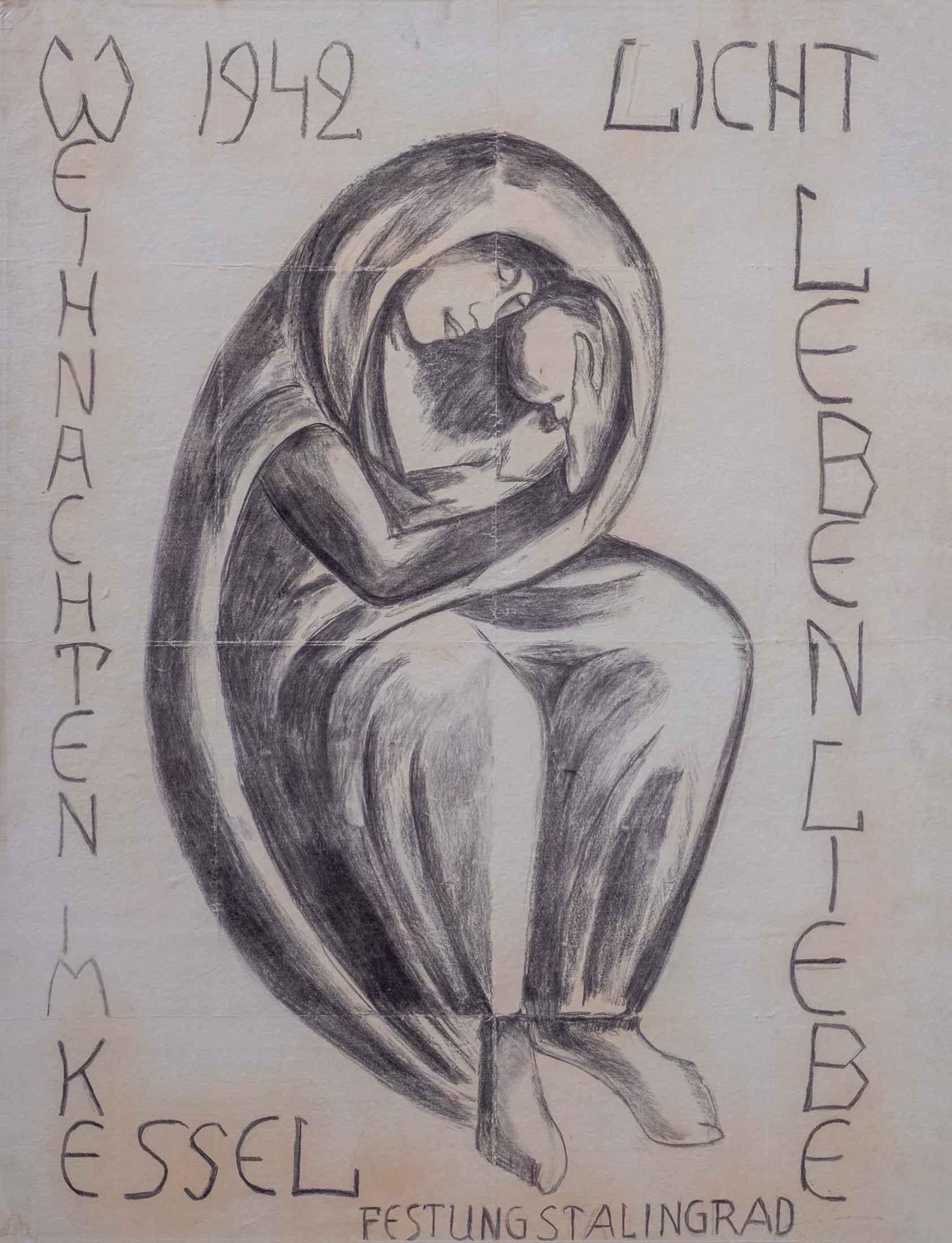 Kurt Reubers: Stalingradmadonna, 1942 Ein Bild, das Text enthält.